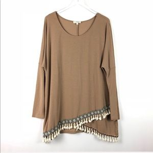 Umgee Tan Boho Tassel Tunic Size 1X